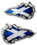 X-Large Long Pair Ripped Torn Metal Design With Scotland Scottish Saltire Flag Motif External Vinyl Car Sticker 300x170mm each